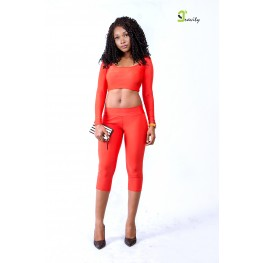 Stunna Set- Orange, Grey and Black