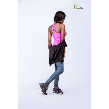 Double-Jay Crossed Back Tank- Pink