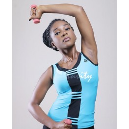Gracie V-neck Tank (Turquoise & Black)